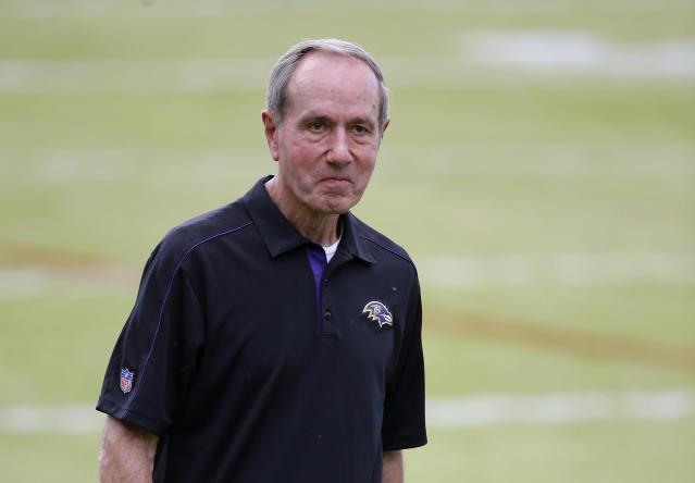 """FILE - In this Aug. 1, 2015, file photo, Baltimore Ravens president Dick Cass walks off the field after NFL football training camp practice in Owings Mills, Md. At a time when America is trying to cope with the financial fallout created by the deadly coronavirus, the renewal of NFL season tickets is not exactly a high priority in the midst of soaring unemployment, business closures and a volatile stock market. Theres a lot of people who are being incredibly affected by this crisis and may not have the funds available to complete the purchase of their season tickets,"""" Ravens president Dick Cass said. Were dealing with a lot of season ticket holders who have been with us for 20 years and we dont want to lose them. So were going to work with them, and hopefully we can find a solution that works for everybody.""""(AP Photo/Patrick Semansky, File)"""