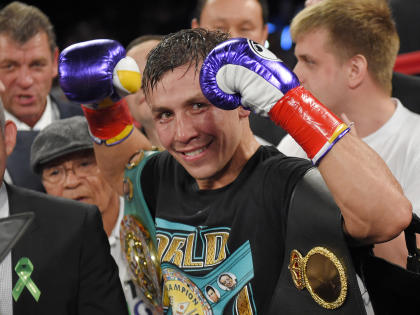 Gennady Golovkin will face David Lemieux on Oct. 17 in a middleweight title unification bout on HBO Pay-Per-View at Madison Square Garden on Oct. 17. (AP Photo/Mark J. Terrill)