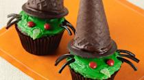 """<p>This wicked witch cupcake recipe is <a href=""""https://www.thedailymeal.com/cook/easy-recipes-kid-dinner-dessert-crafts?referrer=yahoo&category=beauty_food&include_utm=1&utm_medium=referral&utm_source=yahoo&utm_campaign=feed"""" rel=""""nofollow noopener"""" target=""""_blank"""" data-ylk=""""slk:easy and fun to make at home with your kids."""" class=""""link rapid-noclick-resp"""">easy and fun to make at home with your kids.</a> The recipe uses a chocolate-based cupcake with green frosting for the head and an ice cream cone for the witch hat.</p> <p><a href=""""https://www.thedailymeal.com/recipes/wicked-witch-cupcakes-recipe-0?referrer=yahoo&category=beauty_food&include_utm=1&utm_medium=referral&utm_source=yahoo&utm_campaign=feed"""" rel=""""nofollow noopener"""" target=""""_blank"""" data-ylk=""""slk:For the Wicked Witch Cupcakes recipe, click here."""" class=""""link rapid-noclick-resp"""">For the Wicked Witch Cupcakes recipe, click here.</a></p>"""
