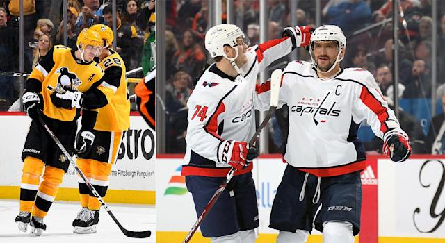Pittsburgh's Evgeni Malkin and Washington's Alex Ovechkin have now combined for 2,200 regular season points in their impressive careers. (Getty Images)