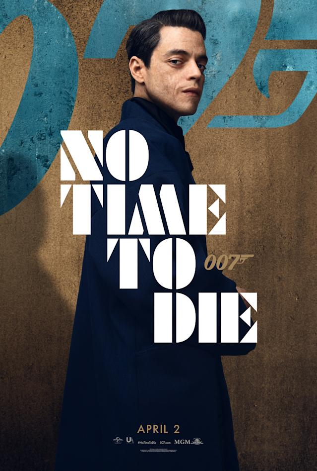 Rami Malek's No Time To Die character poster. (Universal Pictures/MGM)