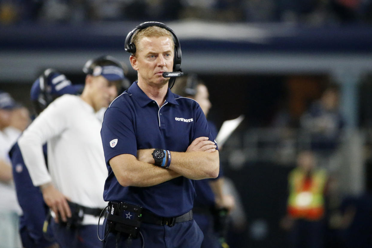 A disastrous Thanksgiving day performance has turned a bad situation worse for Jason Garrett. (AP Photo/Ron Jenkins)