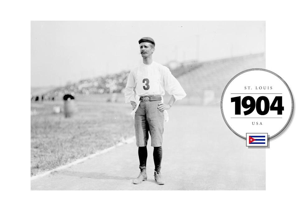 In 1904 Andarín Carvajal, a Cuban runner, wore what looked like an American baseball uniform (very appropriate for St. Louis, where the Summer Olympics were held), including high-waisted, oversized shorts (belted) and a long-sleeved jersey. Unusually, Carvajal's uniform included a kind of schoolboy hat, too. (Getty Images)