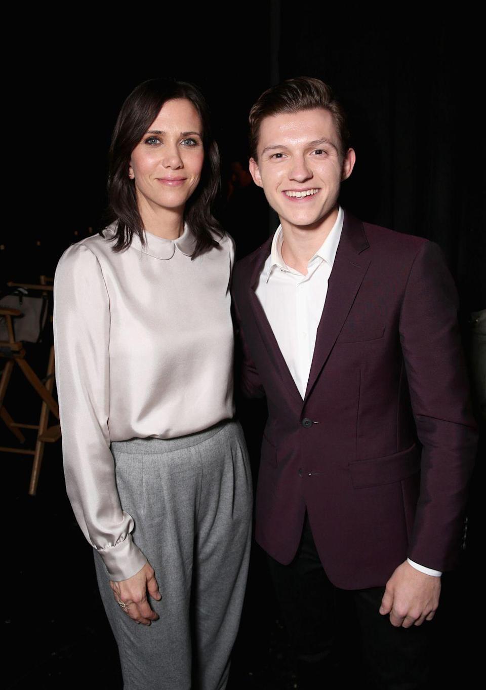 <p>Kristen Wiig and Tom Holland attend CinemaCon 2016 An Evening with Sony Pictures Entertainment on April 12, 2016 in Las Vegas, Nevada.</p>