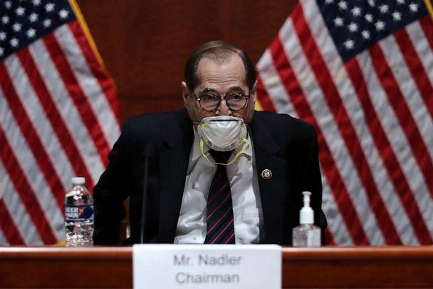 PHOTO: House Judiciary Committee Chairman Jerry Nadler before questioning Attorney General William Barr at the Capitol Visitors Center, July 28, 2020, in Washington, D.C. (Chip Somodevilla/AFP via Getty Images)