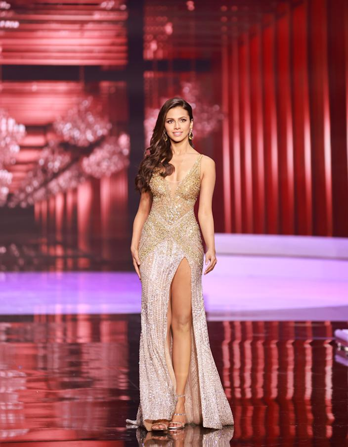 <p>Adline Castelino, Miss Universe India 2020 competes on stage as a Top 10 finalist in an evening gown of her choice during the 69th Miss Universe Competition on May 16, 2021 at the Seminole Hard Rock Hotel & Casino in Hollywood, Florida airing LIVE on FYI and Telemundo. Contestants from around the globe have spent the last few weeks touring, filming, rehearsing and preparing to compete for the Miss Universe crown.</p>