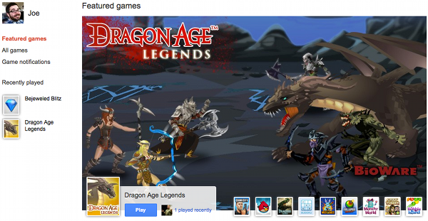 Google+ Games featured games