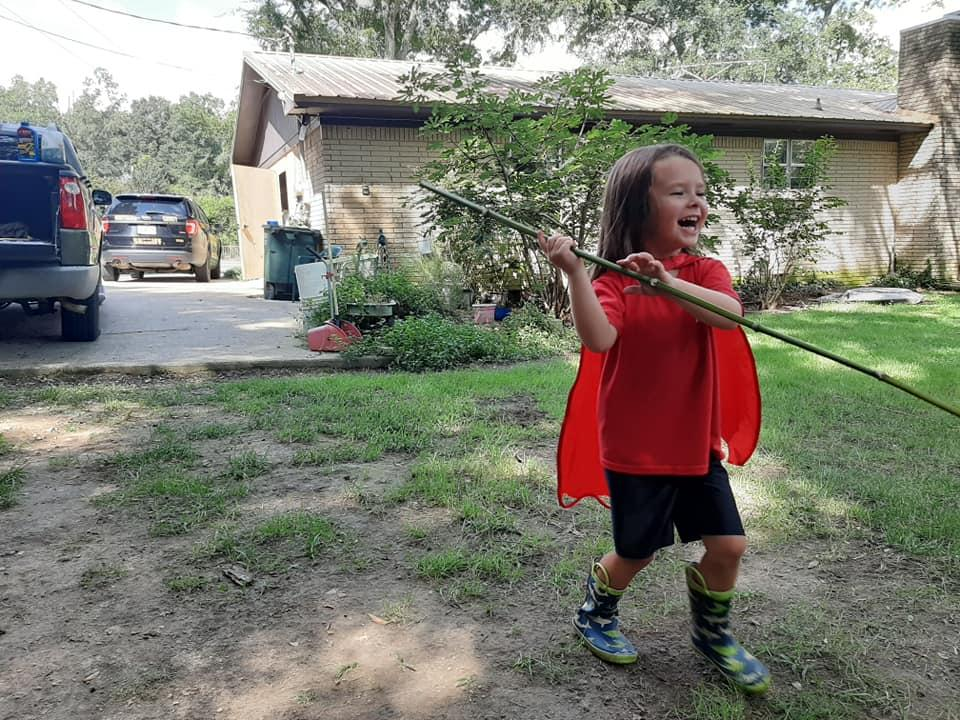 Pictured is five-year-old Wyatt Gibson, playing outside.