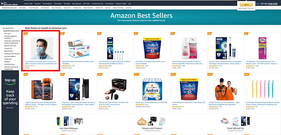 The same mask ranked top in Amazon UK's health and personal care category. It has since been removed.