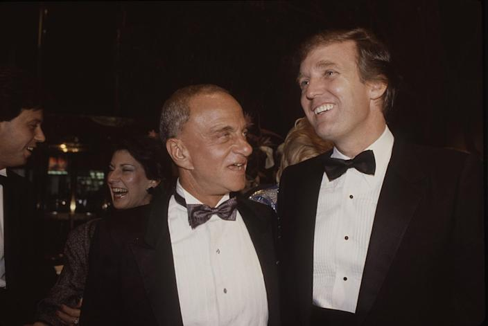 """Roy Cohn, left, and Donald Trump at the 1983 opening of Trump Tower. <span class=""""copyright"""">(Sonia Moskowitz/HBO)</span>"""