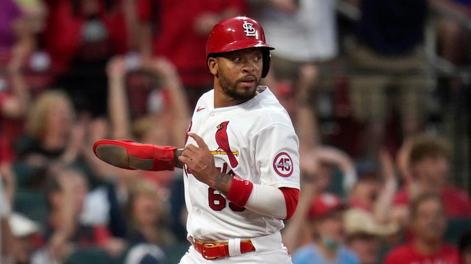 St. Louis Cardinals' Edmundo Sosa scores during the third inning of a baseball game against the Chicago Cubs Friday, May 21, 2021, in St. Louis. (AP Photo/Jeff Roberson)
