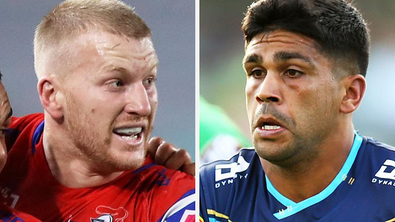 Newcastle's Mitchell Barnett and Gold Coast's Tyrone Peachey are pictured in a split 50-50 image.