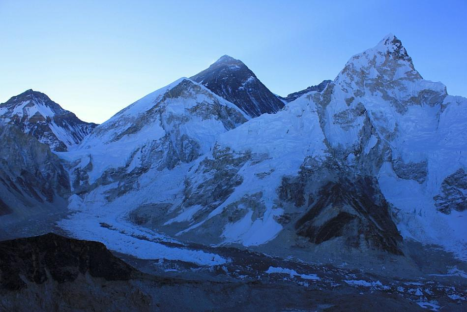 From left to right: Lhotse, Everest and Nuptse. Ignore the first peak from the left in the picture and you then see Lhotse, Mount Everest and Nuptse in the picture. Mount Everest doesn't look the highest because Nuptse is closest to us. In the mountains they say it is the mountain that decides whether you can complete your trek or not. I am so happy they ruled in my favour!