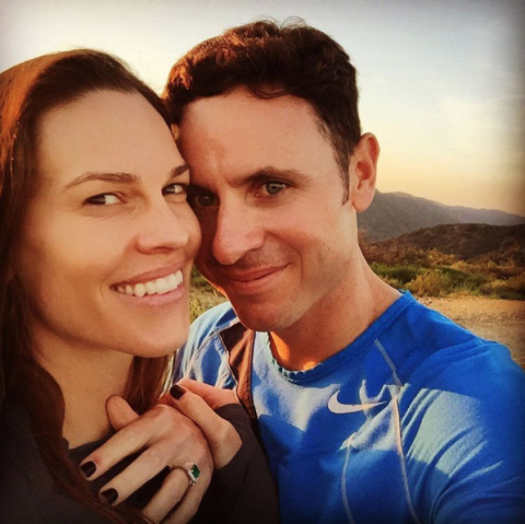 """<p>The actress and her new fiancé, Ruben, a former pro tennis player, announced their engagement <a rel=""""nofollow"""" href=""""https://www.instagram.com/p/BDRGgiOp7ee/?taken-by=hilaryswank&hl=en"""">on Instagram</a>, captioning the shot, """"Went on a hike and this happened! I am so happy to share with you all this exciting and incredible news… the engagement to my dear Ruben!!!#Engaged."""" And that ring? Gorgeous.</p>"""