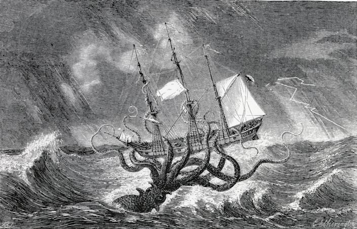 Legendary Kraken, monster of the deep, pictured as a giant squid. Engraving 1870. (Photo by: Universal History Archive/Universal Images Group via Getty Images)