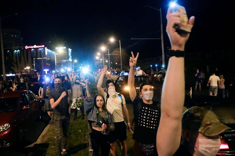 People gather during a mass protest following presidential elections in Minsk, Belarus, Monday, Aug. 10, 2020: AP