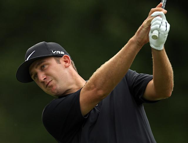 Kevin Chappell watches his tee shot on the fifth hole during second round play at The Barclays golf tournament Thursday, Aug. 22, 2014, in Paramus, N.J. (AP Photo/Adam Hunger)