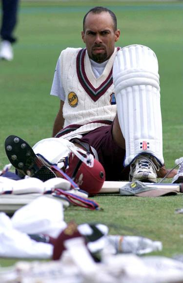 27 Jun 2000:  Jimmy Adams of the West Indies cricket team takes it easy during net practice in preparation for the 2nd Test match against England at Lords in London. Mandatory Credit: Laurence Griffiths/ALLSPORT