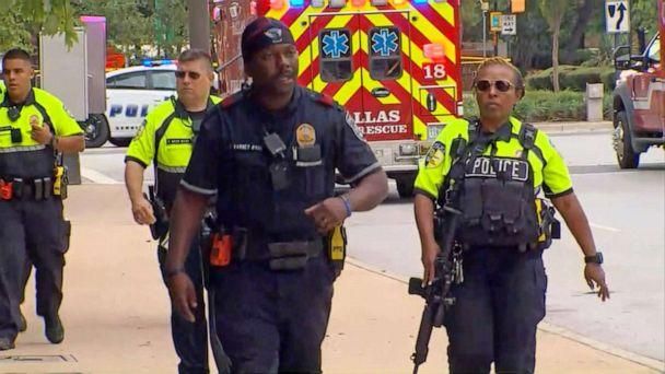 PHOTO: First responders secure the scene near the Earle Cabell Federal Building in Dallas after reports of a shooting, June 17, 2019. (WFAA)