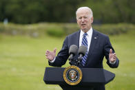 """FILE - In this June 10, 2021, file photo, President Joe Biden speaks ahead of the G-7 summit in St. Ives, England. Biden and his NATO counterparts bid a symbolic farewell to Afghanistan on Monday, June 14, in their last summit before America winds up its longest """"forever war"""" and the military pulls out for good. (AP Photo/Patrick Semansky, File)"""