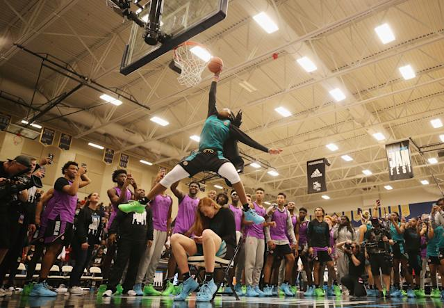 Francesca Belibi started dunking as a 15-year-old. (Photo by Mike Ehrmann/Getty Images for Powerade)