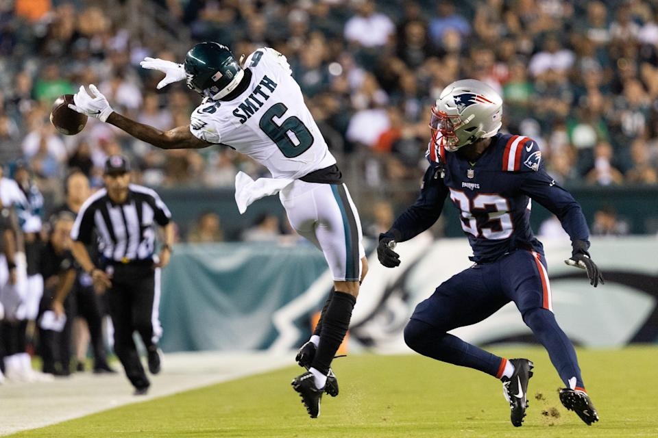 Philadelphia Eagles wide receiver DeVonta Smith is unable to catch a pass in front of New England Patriots safety Kyle Dugger during the second quarter at Lincoln Financial Field.