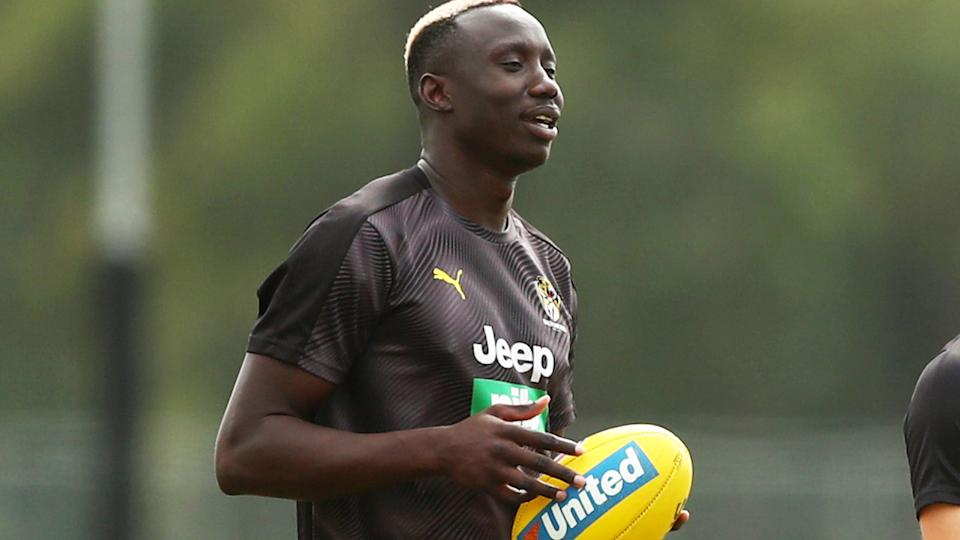 Mabior Chol, pictured here at a Richmond Tigers training session.