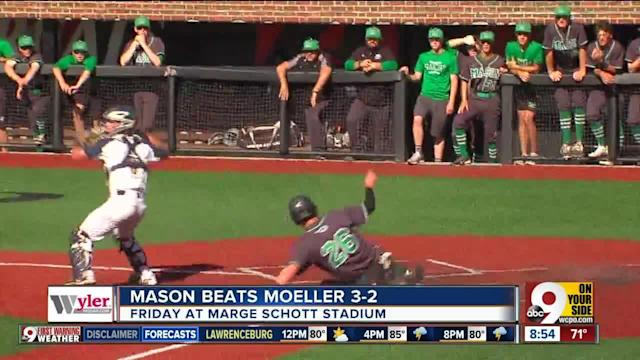 "The Mason baseball team is going to the state tournament for the first time since 1987. ""It's really, really special,"" Mason coach Curt Bly said. ""I couldn't ask for a better group of guys to do it with."" The Comets defeated Moeller 3-2 Friday night in a Division I regional final at the University of Cincinnati's Marge Schott Stadium. Mason (26-5), winners of 10 consecutive games will play Anthony Wayne (25-4) in a Division I state semifinal at 1 p.m. June 1 at Huntington Park in Columbus, and they couldn't be more thrilled by the opportunity."