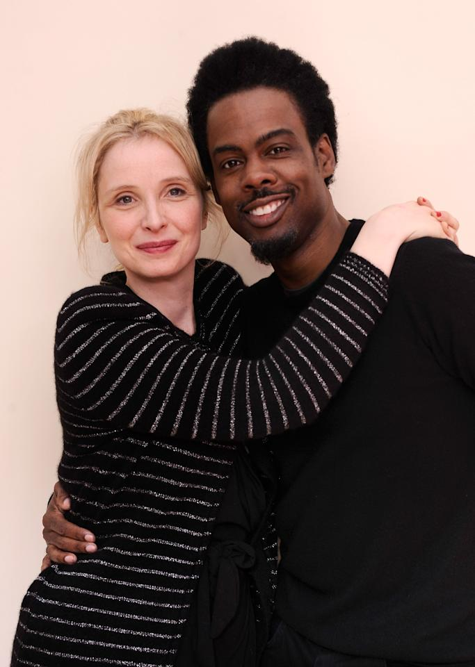 PARK CITY, UT - JANUARY 24:  Actress/writer/director Julie Delpy and actor Chris Rock pose for a portrait during the 2012 Sundance Film Festival at the Getty Images Portrait Studio at T-Mobile Village at the Lift on January 24, 2012 in Park City, Utah.  (Photo by Larry Busacca/Getty Images)