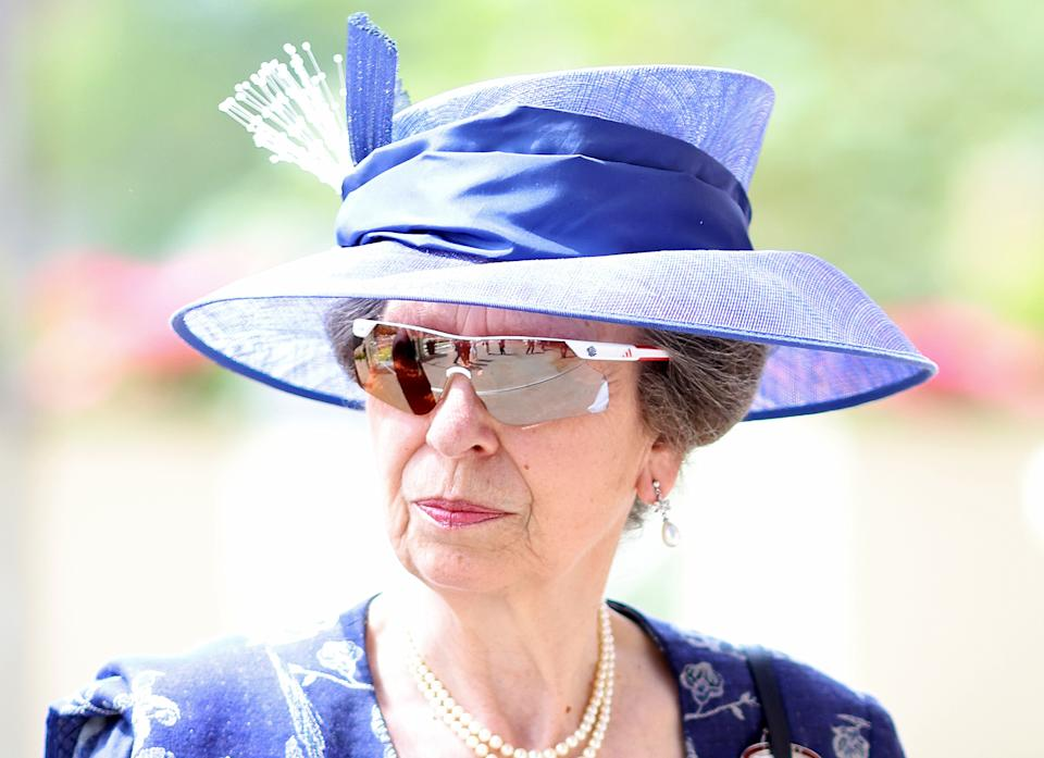 ASCOT, ENGLAND - JUNE 15: Princess Anne, Princess Royal arrives for Royal Ascot 2021 at Ascot Racecourse on June 15, 2021 in Ascot, England. (Photo by Chris Jackson/Getty Images)
