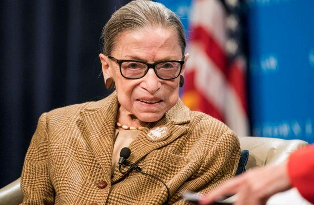 U.S. Supreme Court Justice Ruth Bader Ginsburg participates in a discussion at the Georgetown University Law Center on Feb. 10, 2020.