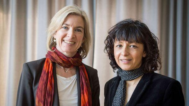PHOTO:In this March 14, 2016 file photo American biochemist Jennifer A. Doudna, left, and the French microbiologist Emmanuelle Charpentier, right, poses for a photo in Frankfurt. (Alexander Heinl/DPA via AP)