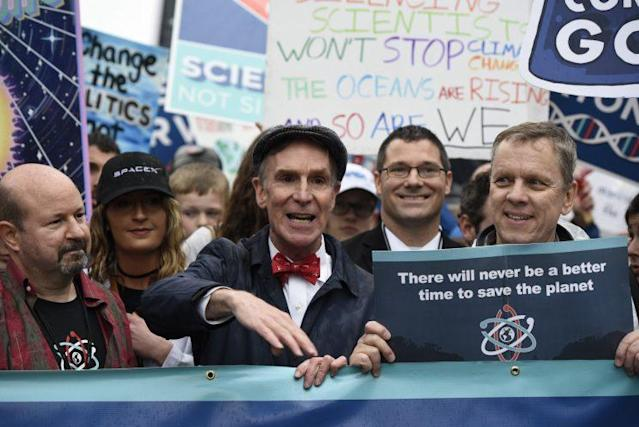Bill Nye the Science Guy at the March for Science in Washington, D.C. (Photo: AP Images)