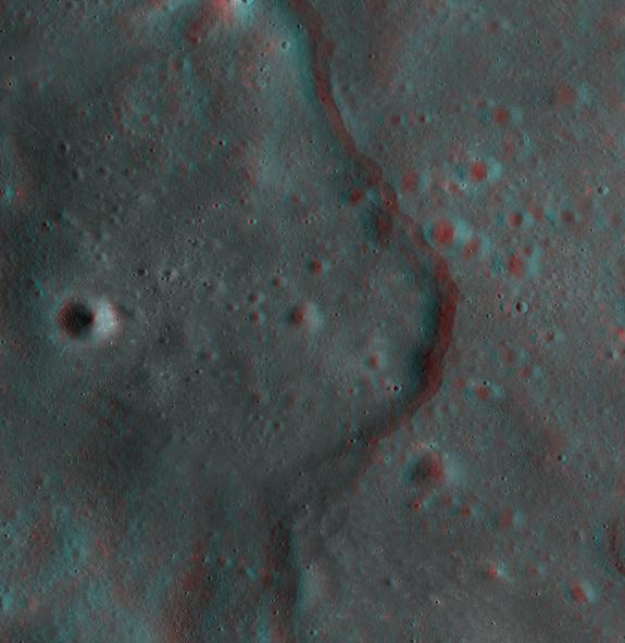 This new 3D image of the moon was created by using images of the same spot of the lunar surface taken from different angles by NASA's Lunar Reconnaissance Orbiter. It shows the Korolev lobate scarp, a type of cliff mostly found in the moon's hi