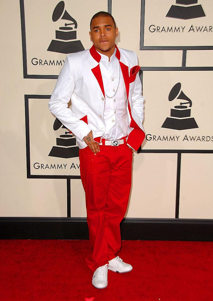 """Chris Brown, nominated for Best Rap/Sung Collaboration, apparently borrowed his ensemble from Ringling Brothers and Barnum and Bailey Circus. Steve Granitz/<a href=""""http://www.wireimage.com"""" target=""""new"""">WireImage.com</a> - February 10, 2008"""