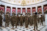 """<p>The Department of Defense <a href=""""https://www.nytimes.com/2021/01/12/us/politics/national-guard-troops-armed-inauguration.html"""" rel=""""nofollow noopener"""" target=""""_blank"""" data-ylk=""""slk:announced on Tuesday"""" class=""""link rapid-noclick-resp"""">announced on Tuesday</a> that the National Guard members who are stationed at the U.S. Capitol as part of the amped up security protocols will be armed, according to <em>The New York Times</em>. </p>"""