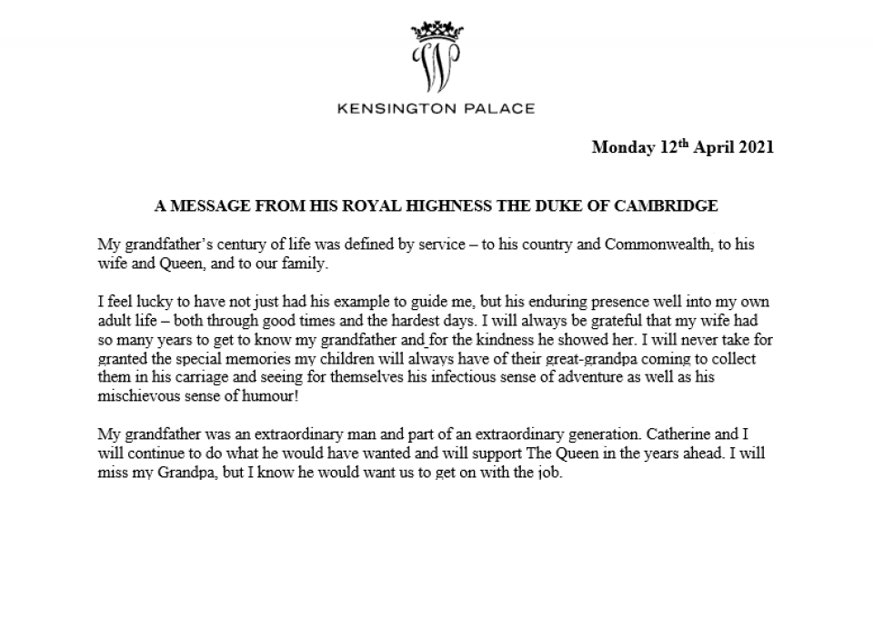 Prince William's tribute to Prince Philip