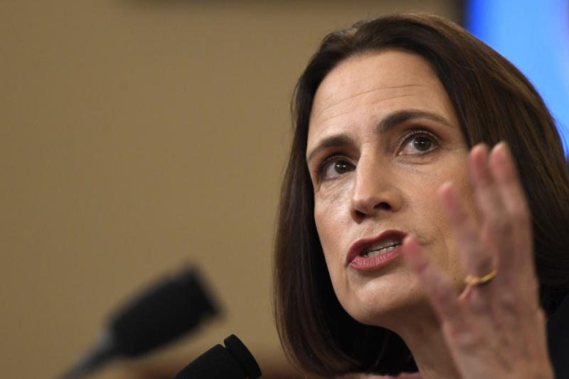 Former White House national security aide Fiona Hill, testifies before the House Intelligence Committee on Capitol Hill in Washington, Thursday, Nov. 21, 2019, during a public impeachment hearing of President Donald Trump's efforts to tie U.S. aid for Ukraine to investigations of his political opponents.(AP Photo/Susan Walsh)