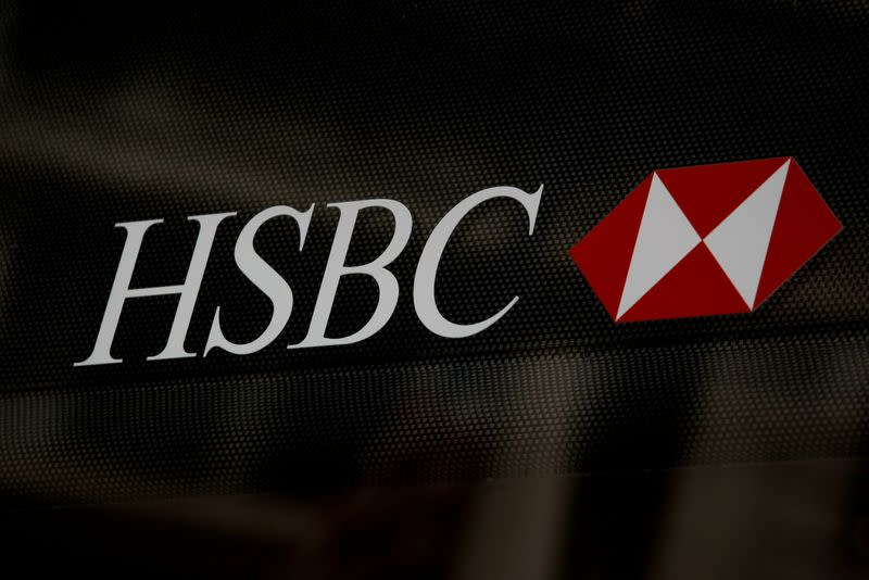 FILE PHOTO: HSBC logo is seen on a branch bank in the financial district in New York