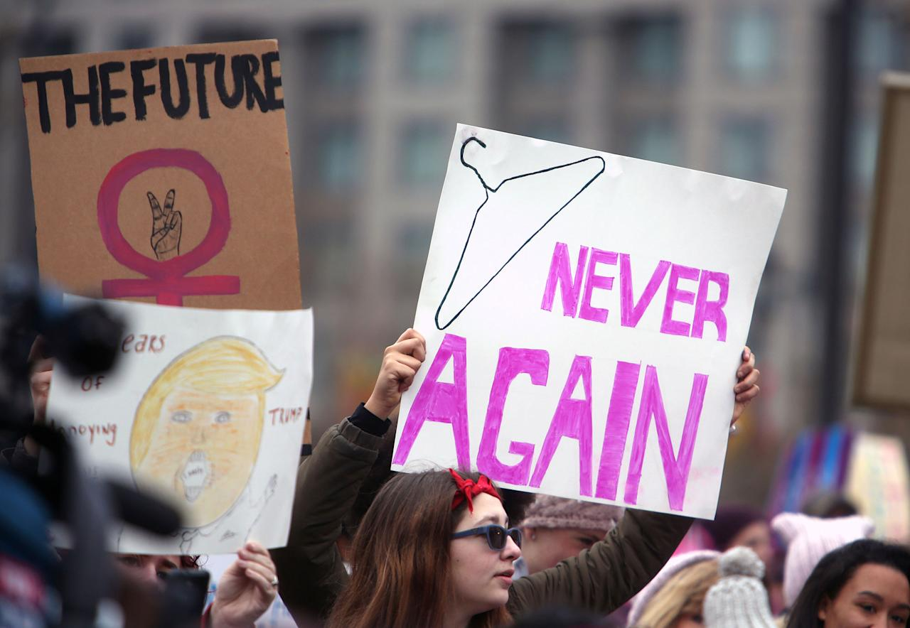 <p>Protesters prepare to rally at the Women's March Saturday Jan. 21, 2017 in Philadelphia. The march is being held in solidarity with similar events taking place in Washington and around the nation. (AP Photo/Jacqueline Larma) </p>