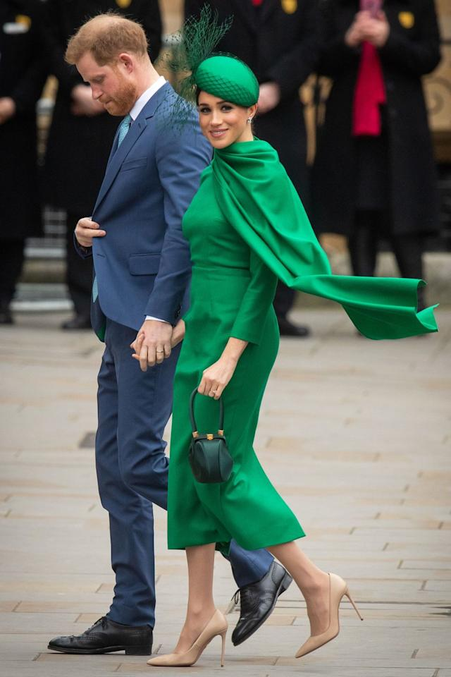 <p>Who: The Duke and Duchess of Sussex </p><p>When: March 9, 2020</p><p>Wearing: Emilia Wickstead, Aquazzura shoes, William Chambers hat, Gabriela Hearst bag</p><p>Why: Not all superheroes wear capes, but Meghan Markle definitely does. She wore this heroically monochromatic outfit to her final royal engagement before moving to Canada, because why wouldn't you? </p>