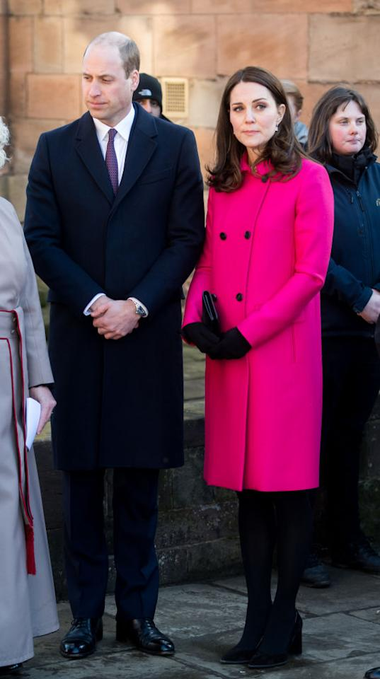 <p>The Duke and Duchess of Cambridge marked their first joint royal engagement of 2018 with a trip to Coventry Cathedral. For the momentous occasion, Kate Middleton donned her go-to Mulberry coat which she has worn throughout all three of her pregnancies.<br />The 36-year-old last wore the number back in March 2015 while pregnant with Princess Charlotte. <em>[Photo: Getty]</em> </p>