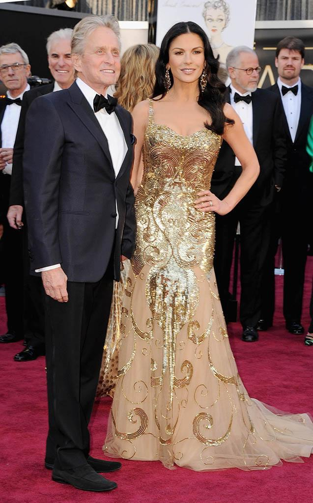 Michael Douglas and Catherine Zeta-Jones arrive at the Oscars in Hollywood, California, on February 24, 2013.