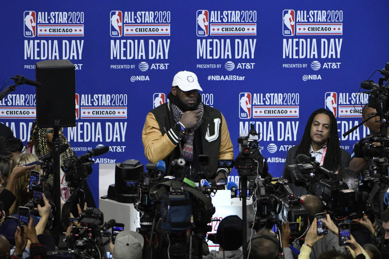 LeBron James, of the Los Angeles Lakers, talks with the media during the NBA All-Star basketball game media day, Saturday, Feb. 15, 2020, in Chicago. (AP Photo/David Banks)