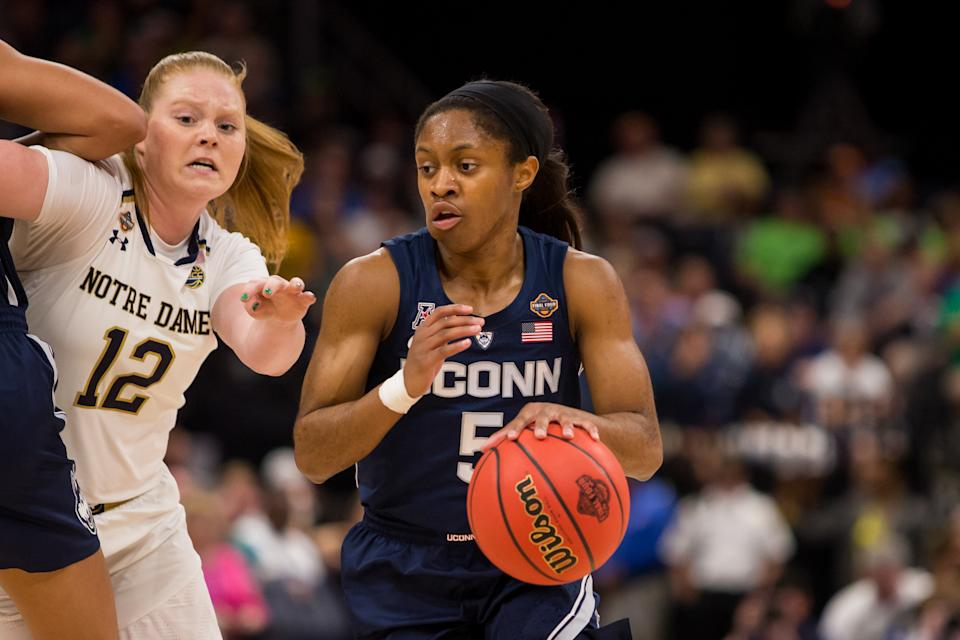TAMPA, FL - APRIL 05: UCONN guard Crystal Dangerfield (5) plays in 2019 NCAA Women's National Semifinal Game Two between the UCONN Huskies and the Notre Dame Fighting Irish at Amalie Arena in Tampa, FL on on April 5. (Photo by Mary Holt/Icon Sportswire via Getty Images)