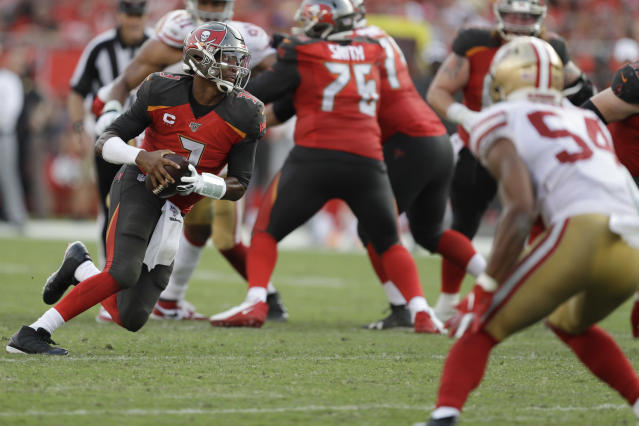 Tampa Bay Buccaneers quarterback Jameis Winston (3) breaks out of the pocket against the San Francisco 49ers during the second half an NFL football game, Sunday, Sept. 8, 2019, in Tampa, Fla. (AP Photo/Chris O'Meara)