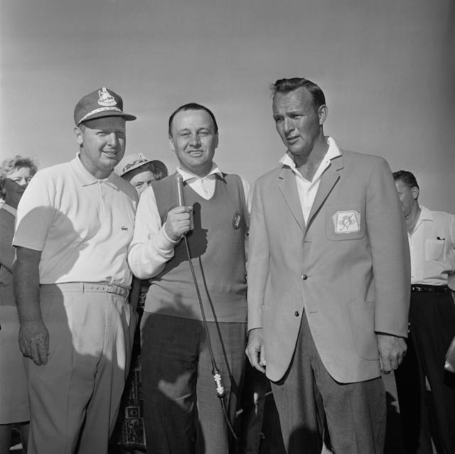 <p>Jim McKay, center, interviews Billy Maxwell, left, Palm Springs winner, and Arnold Palmer, 1960 Palm Springs champion at the PALM SPRINGS GOLF TOURNAMENT. (Photo by CBS via Getty Images) </p>