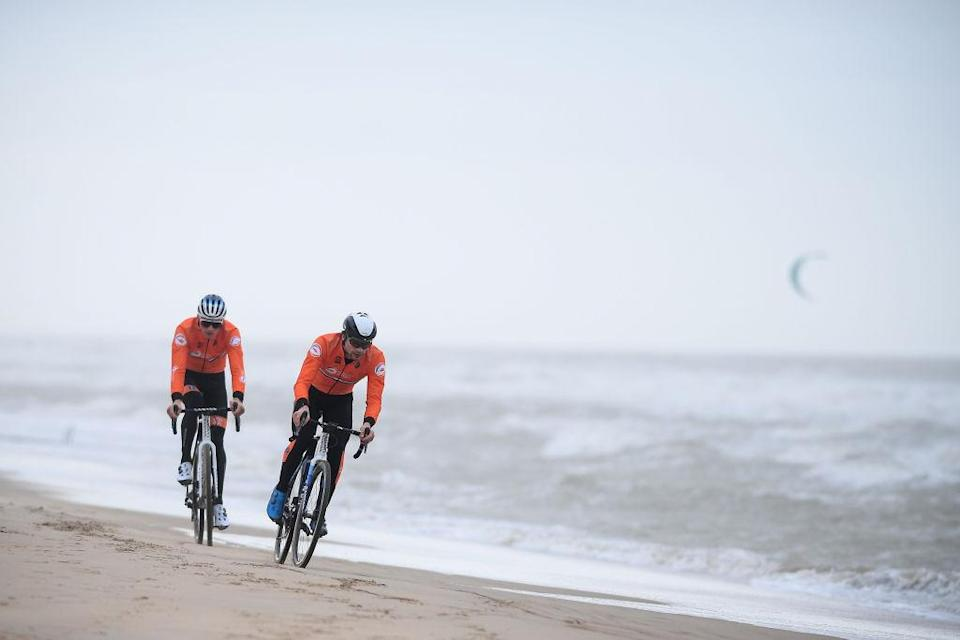 Dutch Mathieu Van Der Poel and Dutch David Van Der Poel pictured in action during a track reconnaissance and training session ahead of the world championships cyclocross cycling in Oostende Belgium Thursday 28 January 2021 The worlds are taking place this weekend BELGA PHOTO DAVID STOCKMAN Photo by DAVID STOCKMANBELGA MAGAFP via Getty Images