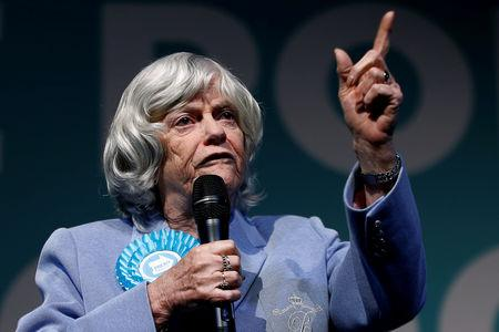 FILE PHOTO: European Parliament election candidate Ann Widdecombe gestures at a Brexit Party campaign event in London, Britain, May 21, 2019. REUTERS/Henry Nicholls/File Photo