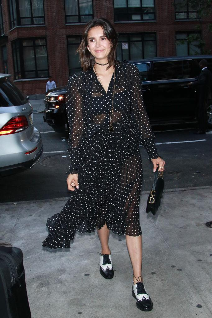 <p>Nina Dobrev wears a Dior sheer polka dot dress in New York City on June 7, 2018. (Photo: MediaPunch/Bauer-Griffin/GC Images) </p>